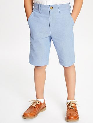 John Lewis & Partners Heirloom Collection Boys' Oxford Shorts, Blue