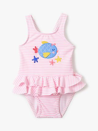 John Lewis & Partners Baby Stripe Fish Frill Swimsuit, Pink