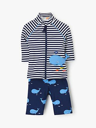 John Lewis & Partners Baby Nautical Whale Rash Vest and Shorts Set, Blue