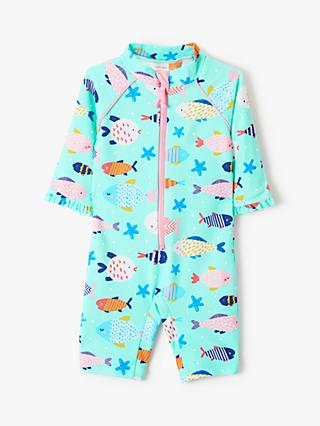 John Lewis & Partners Baby Fish Print SunPro Swimsuit, Multi
