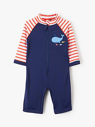 John Lewis & Partners Baby Nautical Whale SunPro Swimsuit, Blue