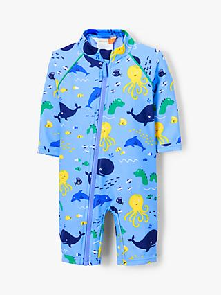 John Lewis & Partners Baby Under the Sea SunPro Swimsuit, Blue