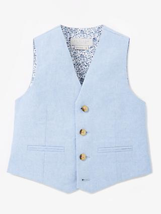 John Lewis & Partners Heirloom Collection Boys' Linen Blend Oxford Waistcoat, Blue