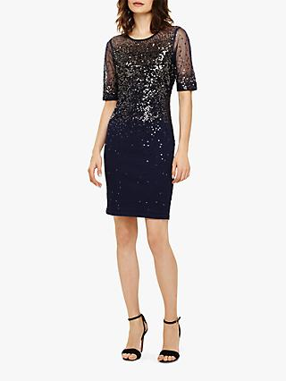 Phase Eight Orlena Ombre Sequin Knitted Dress, Navy