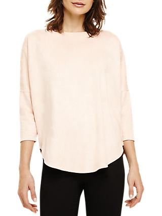 Phase Eight Sistine Suedette Swing Top, Pale Pink