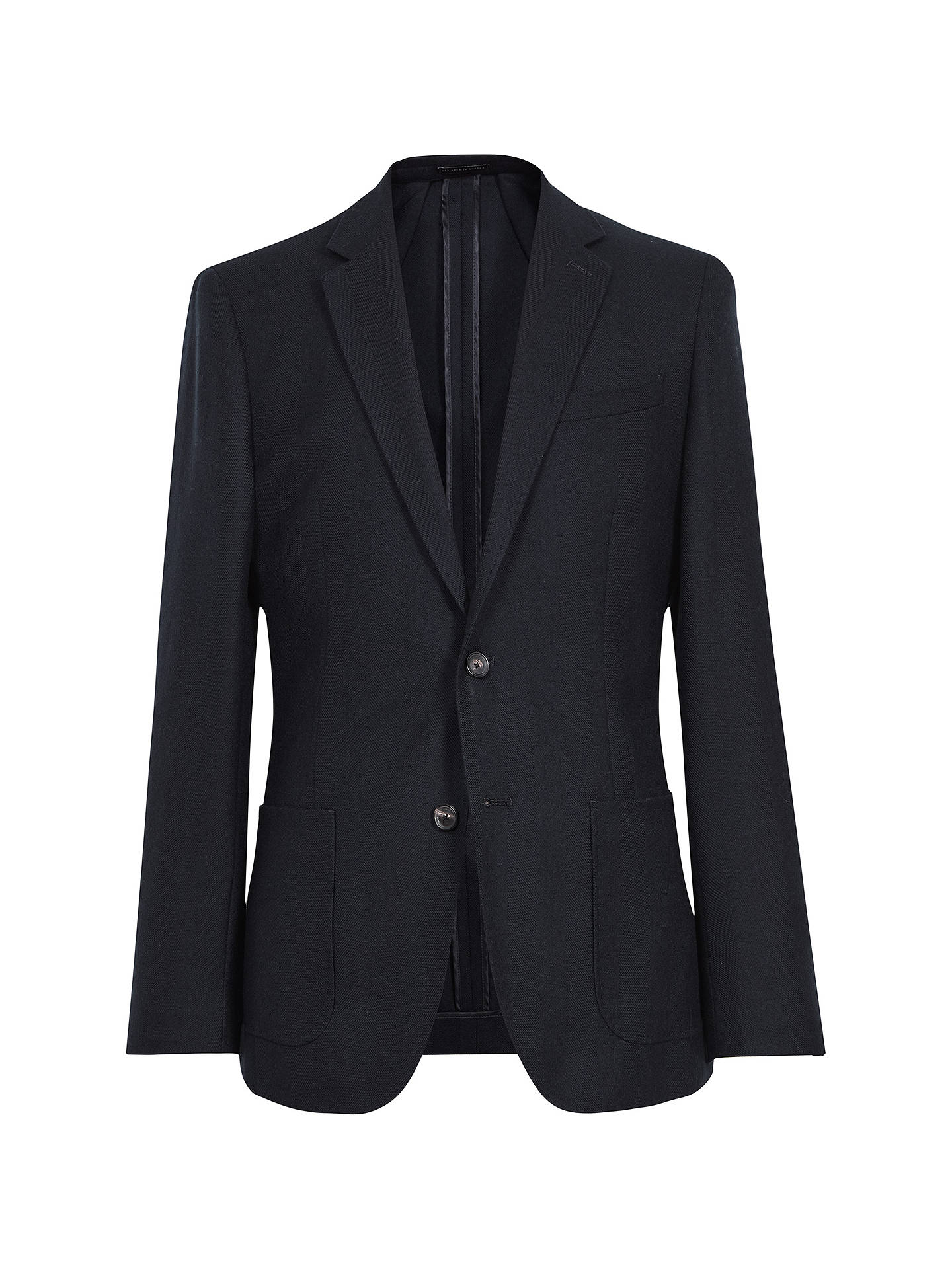 Buy Reiss Ribot Herringbone Wool Slim Fit Blazer, Navy, 44R Online at johnlewis.com