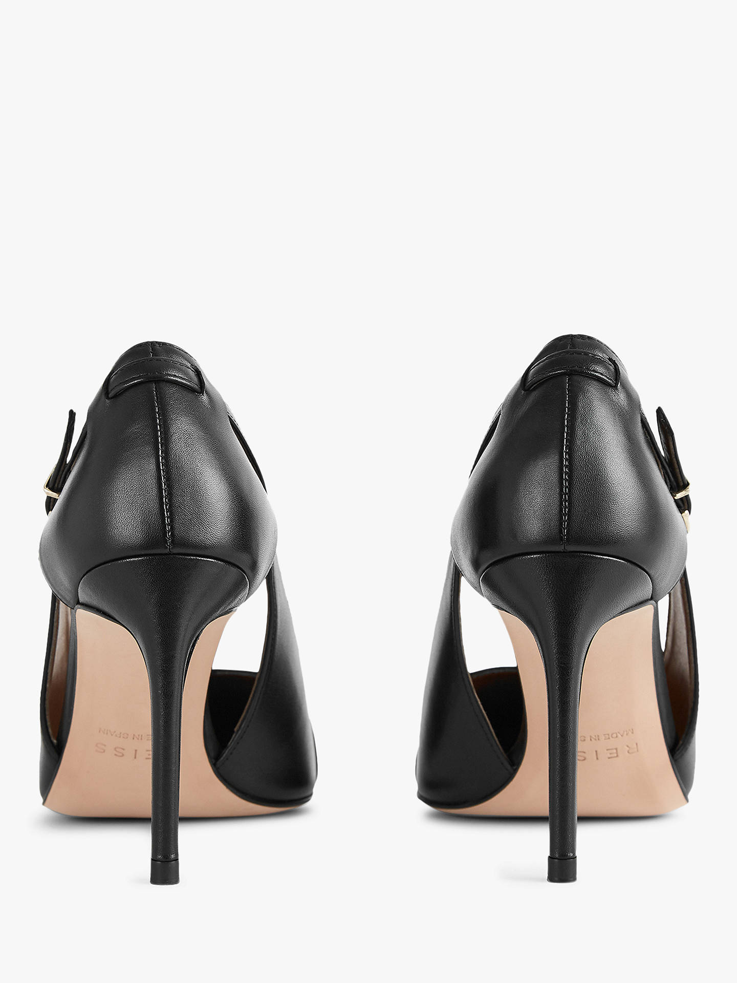BuyReiss Halley Buckle Detail Pointed Heeled Court Shoes, Black Leather, 5 Online at johnlewis.com