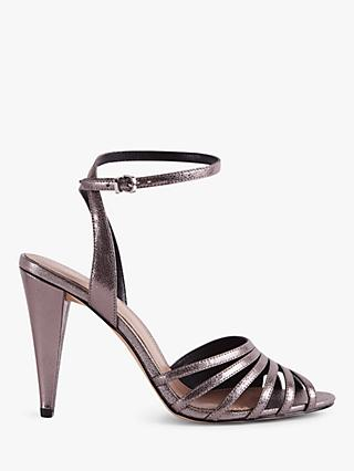 Reiss Garbo Metallic High Heeled Strappy Sandals