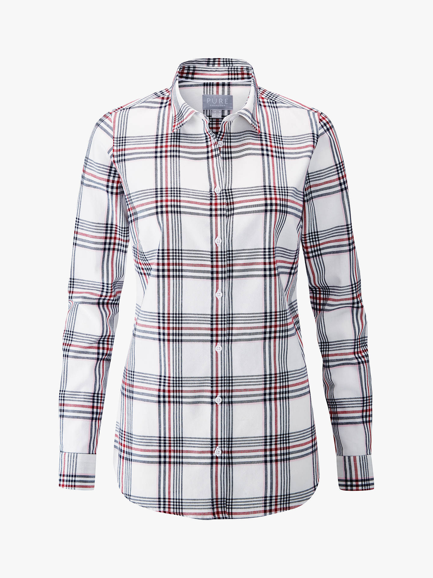 Buy Pure Collection Cotton Shirt, Check, 10 Online at johnlewis.com