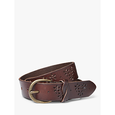 Fat Face Flower Cut Out Leather Jeans Belt, Chocolate