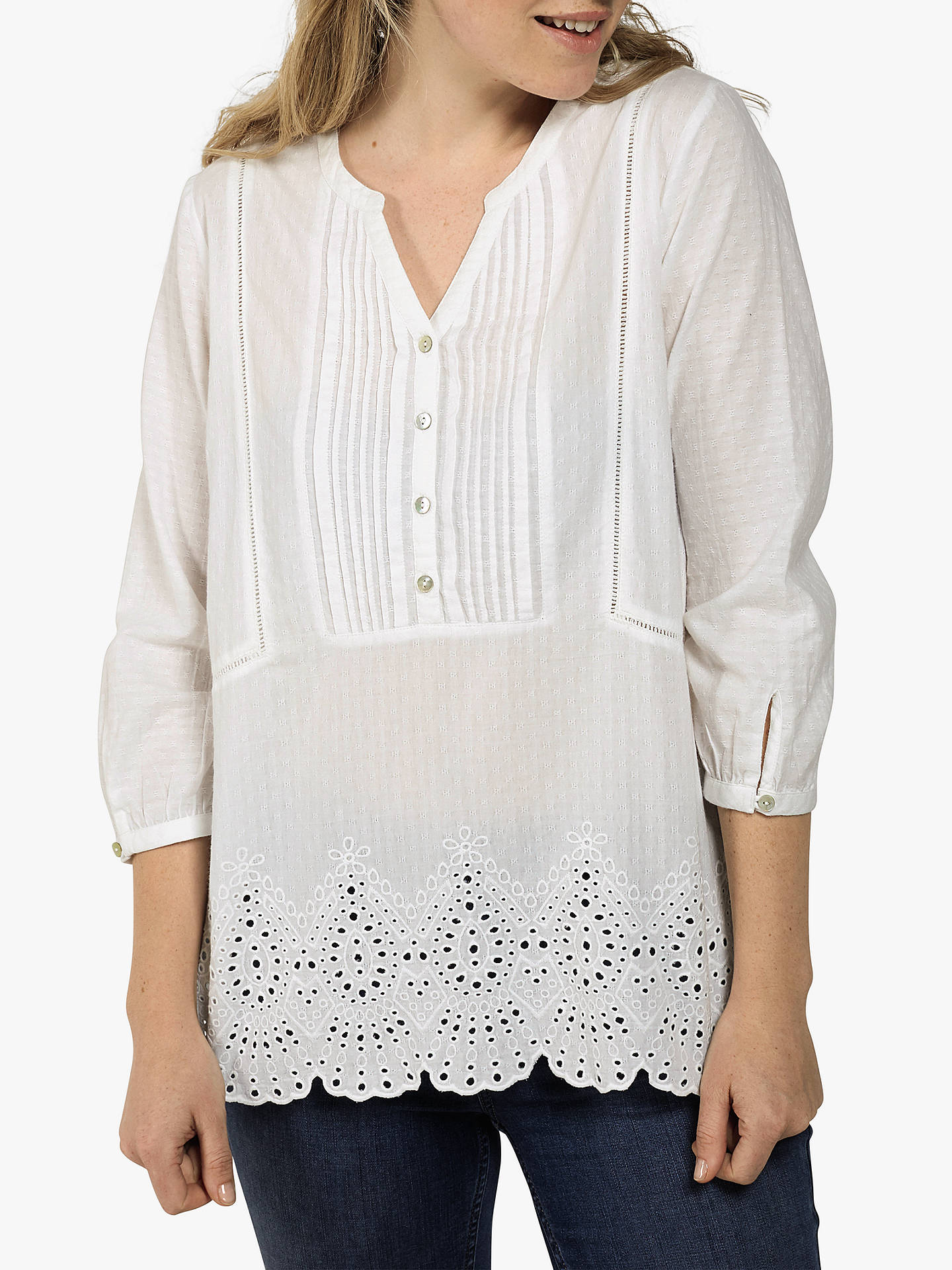 a73d318e63d Buy Fat Face Jolene Popover Embroidered Tunic Top, White, 6 Online at  johnlewis.
