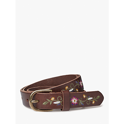 Fat Face Floral Embroidery Leather Jeans Belt, Chocolate