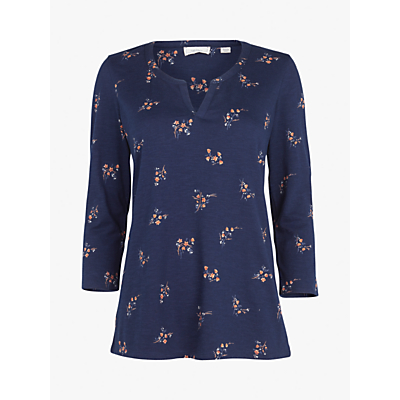 Fat Face Elodie Blossom Ditsy Jersey Top, Navy/Multi