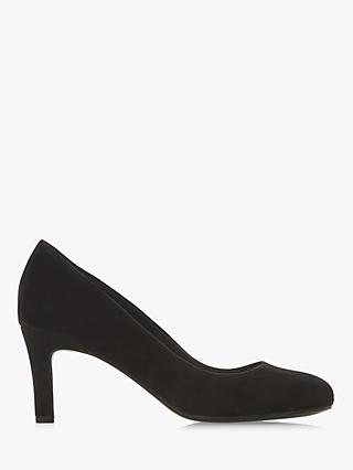 Dune Amalei Mid Heel Court Shoes, Black Suede