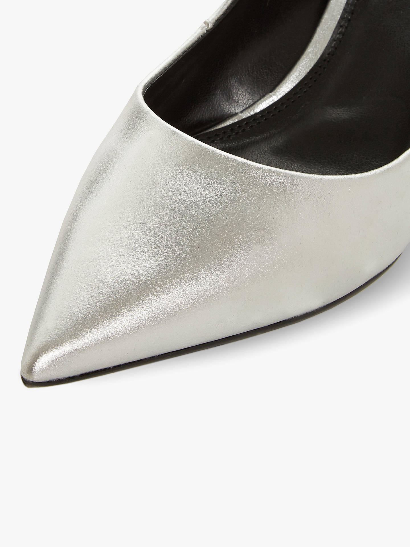 BuyDune Arve Block Heel Pointed Court Shoes, Silver Leather, 3 Online at johnlewis.com