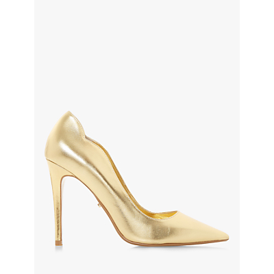 Dune Ashe Cutout Side Heeled Court Shoes, Gold Leather