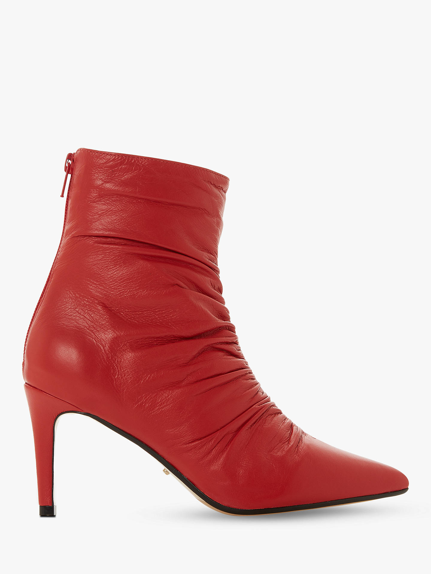 BuyDune Oasis Stiletto Heel Ankle Boots, Red Leather, 5 Online at johnlewis.com