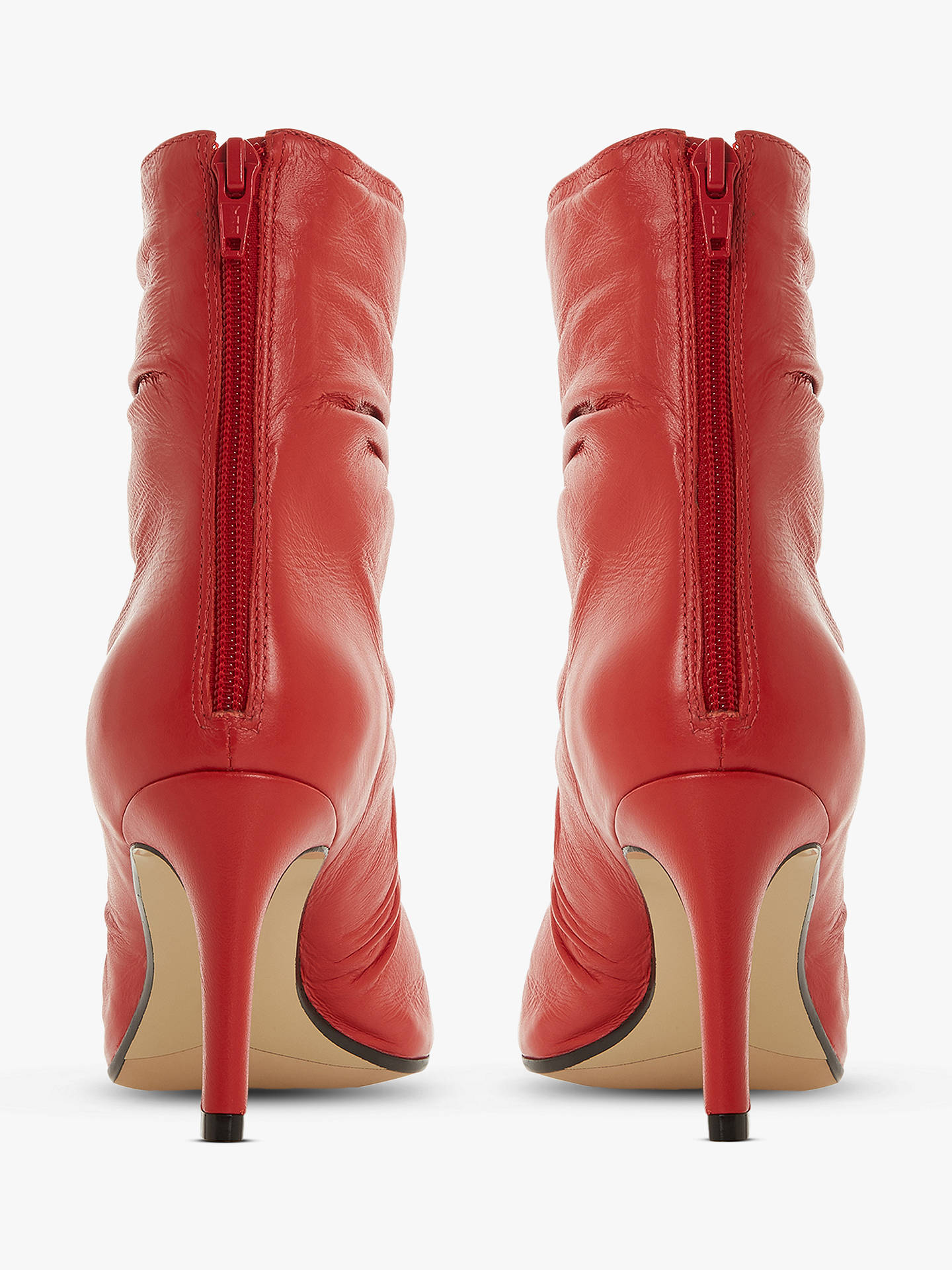 e61df1c3307b Buy Dune Oasis Stiletto Heel Ankle Boots, Red Leather, 5 Online at  johnlewis.