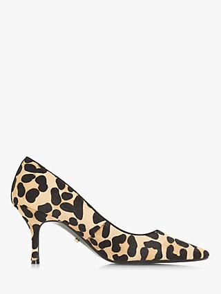 Dune Anncona Kitten Heel Court Shoes, Leopard