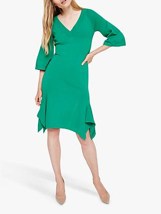 Damsel in a Dress Kristyn Knit Drape Hem Dress, Emerald Green