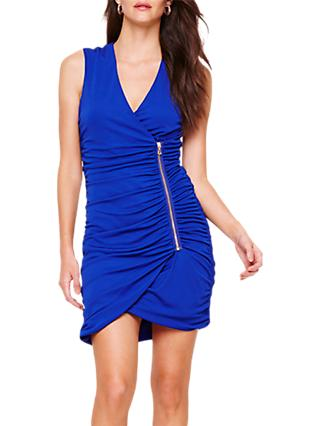 Damsel in a Dress Solene Ruched Zip Dress, Royal Blue