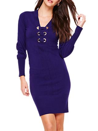 Damsel in a Dress Elora Tie Front Knit Dress, Deep Purple