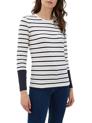 Jaeger Round Neck Long Sleeve Stripe Top, Navy