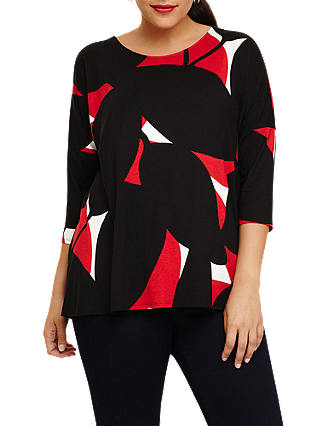 Buy Studio 8 Vera Print Top, Black/Red, 14 Online at johnlewis.com