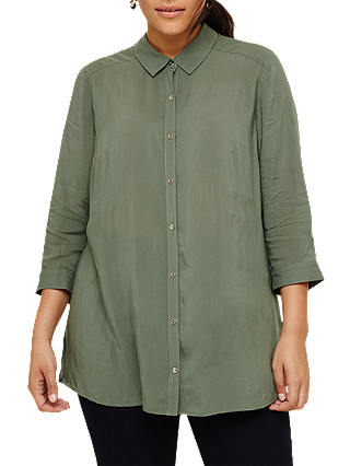 Buy Studio 8 Lydia Longline Shirt, Khaki, 20 Online at johnlewis.com