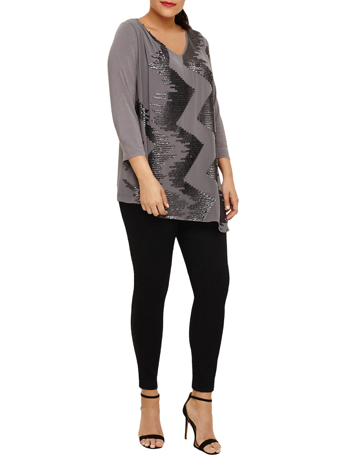 Buy Studio 8 Nikita Sequin Top, Khaki, 22 Online at johnlewis.com