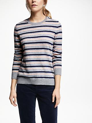 Collection WEEKEND by John Lewis Cashmere Stripe Crew Neck Jumper, Peach/Grey/Blue