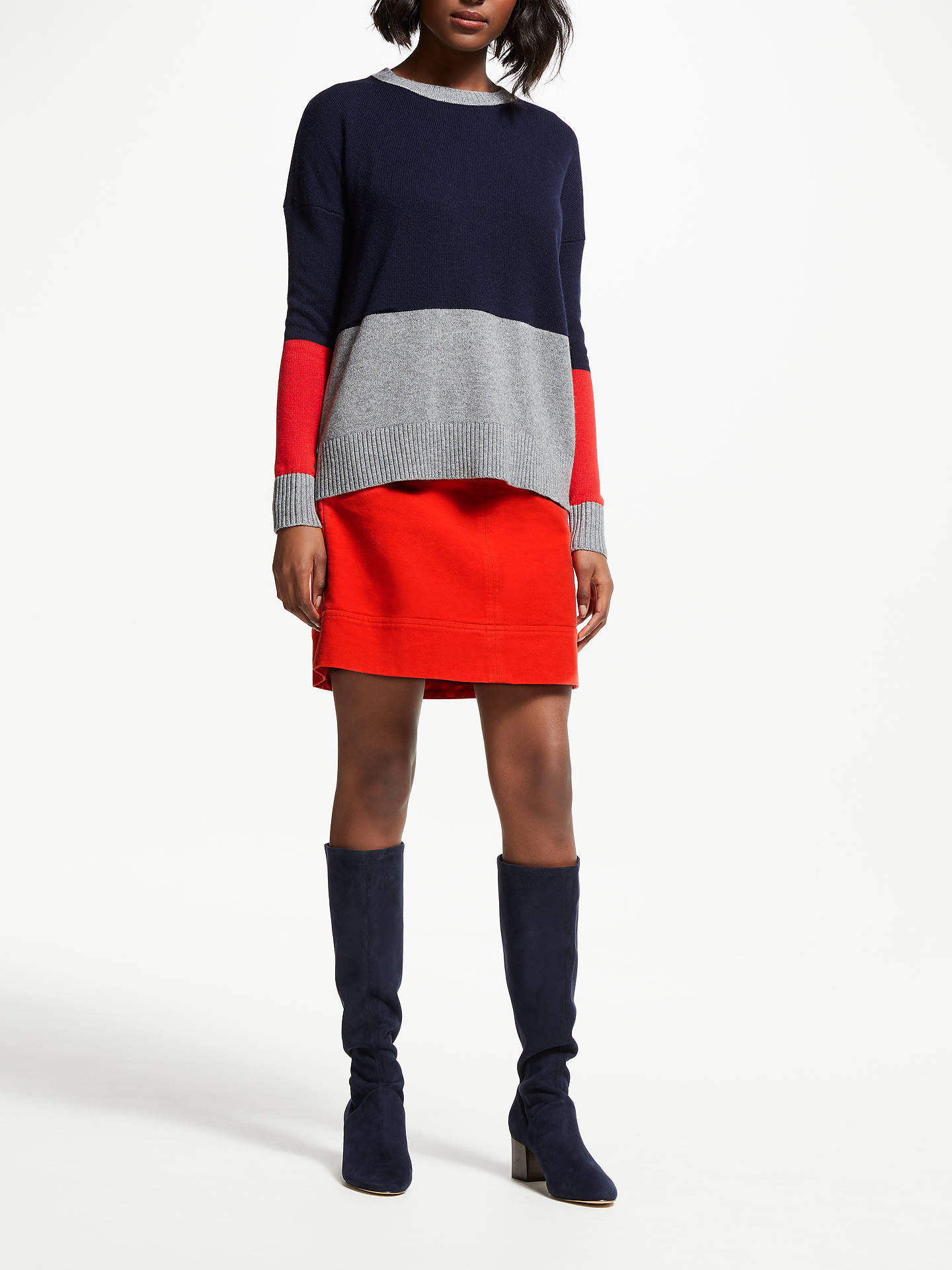 BuyBoden Lowick Jumper, Navy Colourblock, XL Online at johnlewis.com