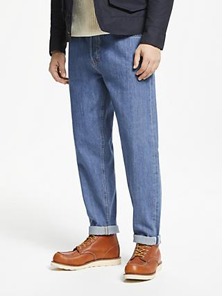 JOHN LEWIS & Co. 13.5oz Selvedge Denim Regular Tapered Fit Jeans, Mid Wash