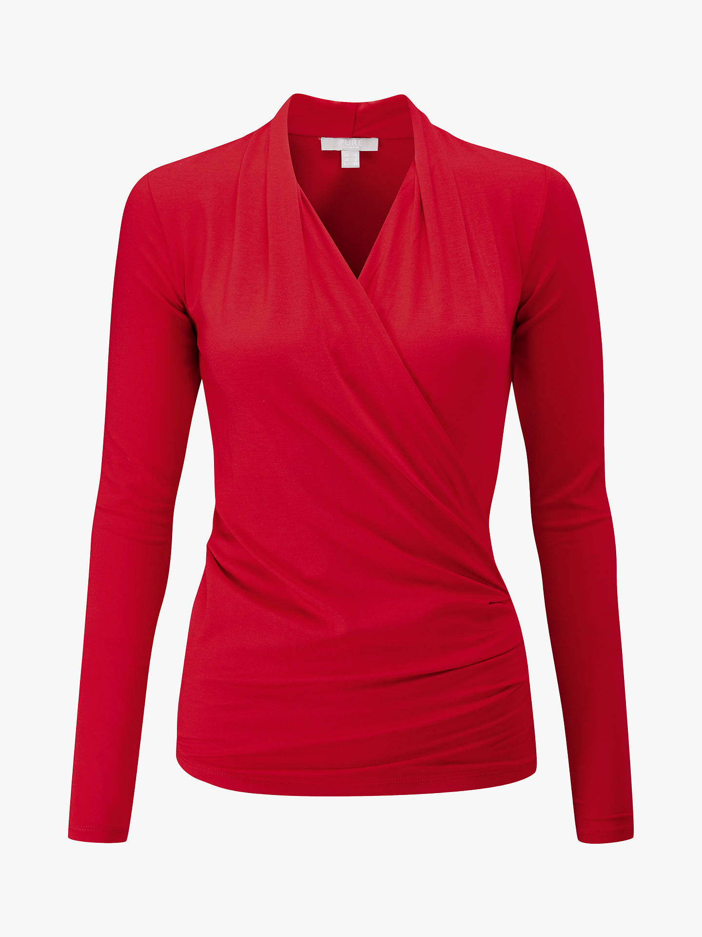BuyPure Collection Jersey Wrap Top, Scarlet, 8 Online at johnlewis.com
