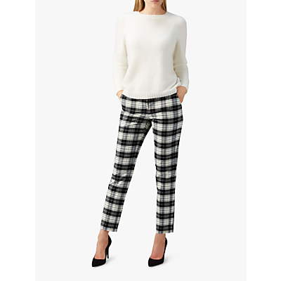 Pure Collection Tailored Ankle Length Trousers, Black/Ivory
