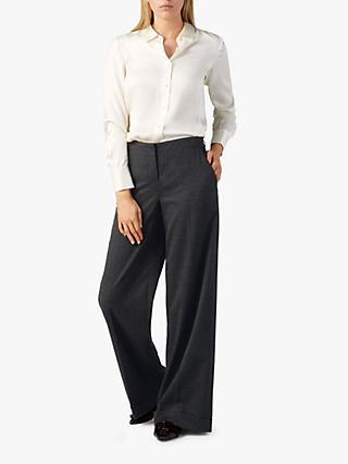 Pure Collection Wide Leg Trousers, Charcoal Marl