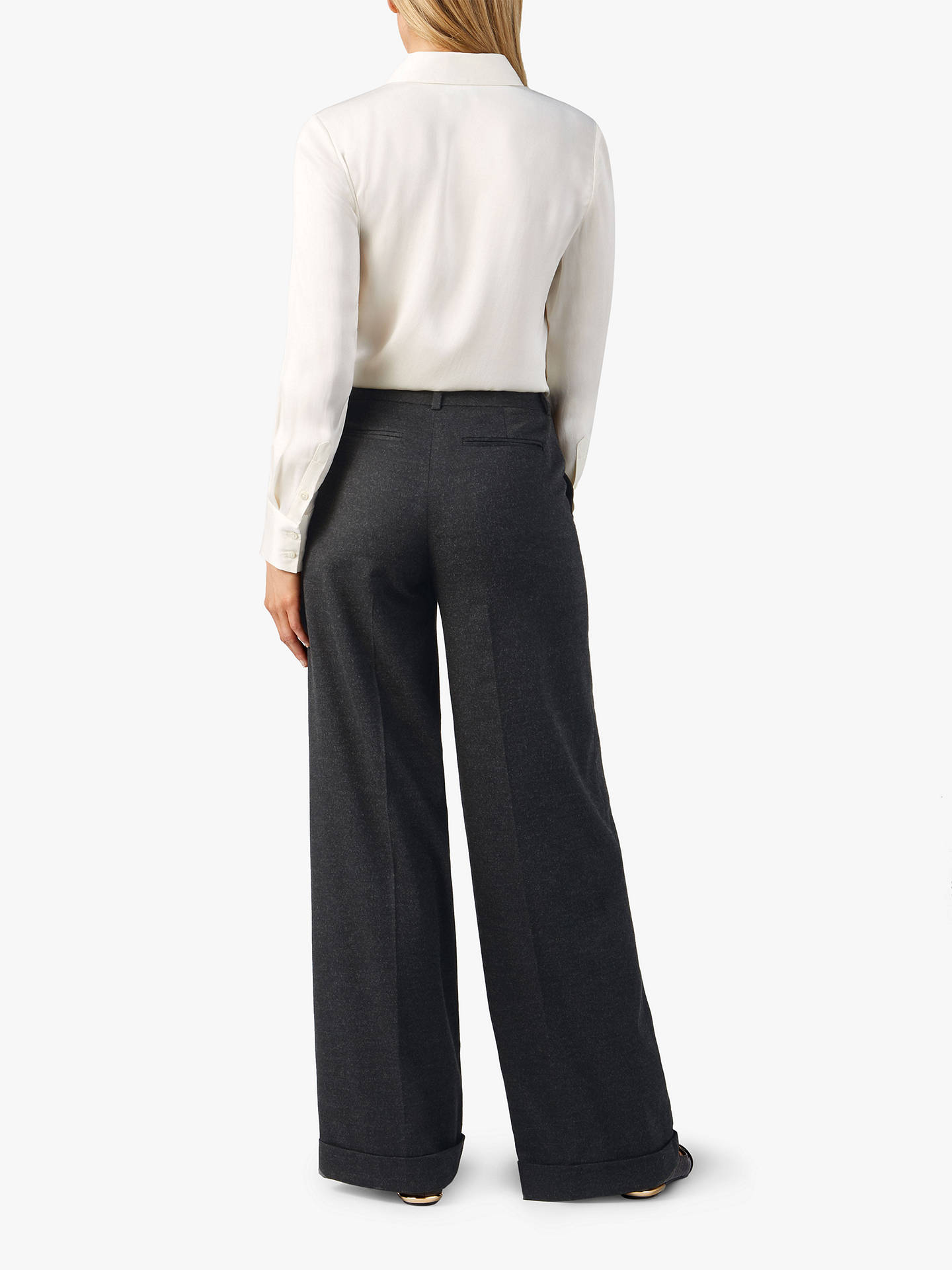 BuyPure Collection Wide Leg Trousers, Charcoal Marl, 8 Online at johnlewis.com