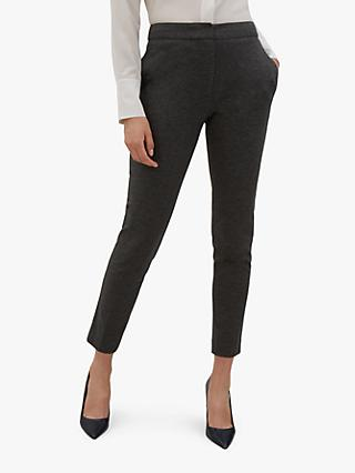 Jaeger Ponte Tailored Ankle Trousers, Grey Charcoal