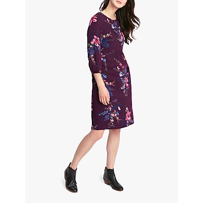 Joules Alison Floral Key Hole Woven Dress, Plum Harvest Floral