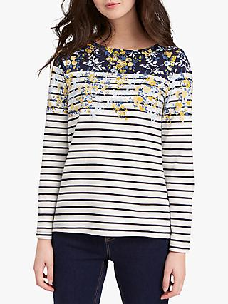Joules Scattered Floral Stripe T-Shirt, Navy