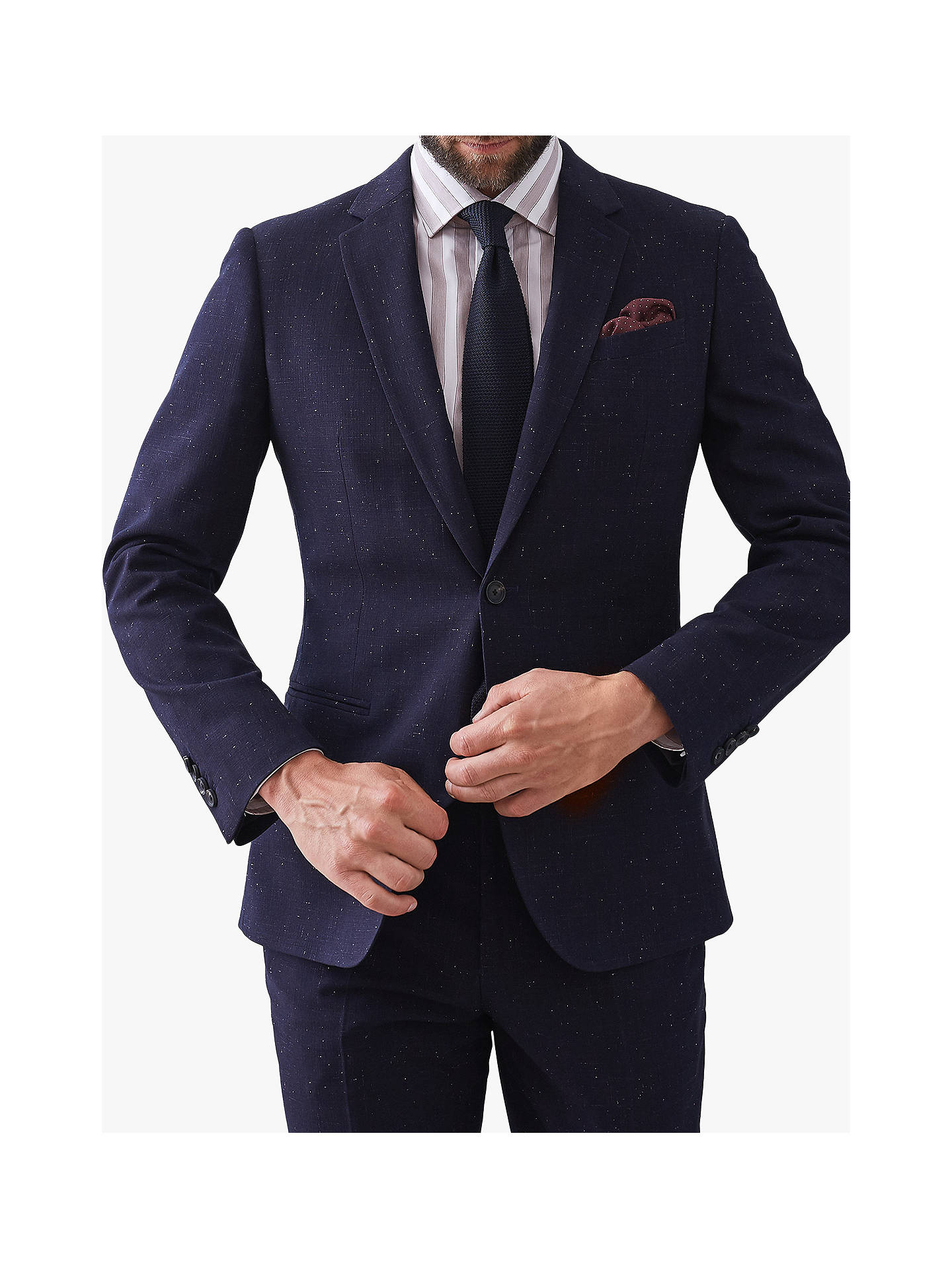 BuyReiss Fountain Nep Texture Slim Fit Suit Jacket, Navy, 44R Online at johnlewis.com