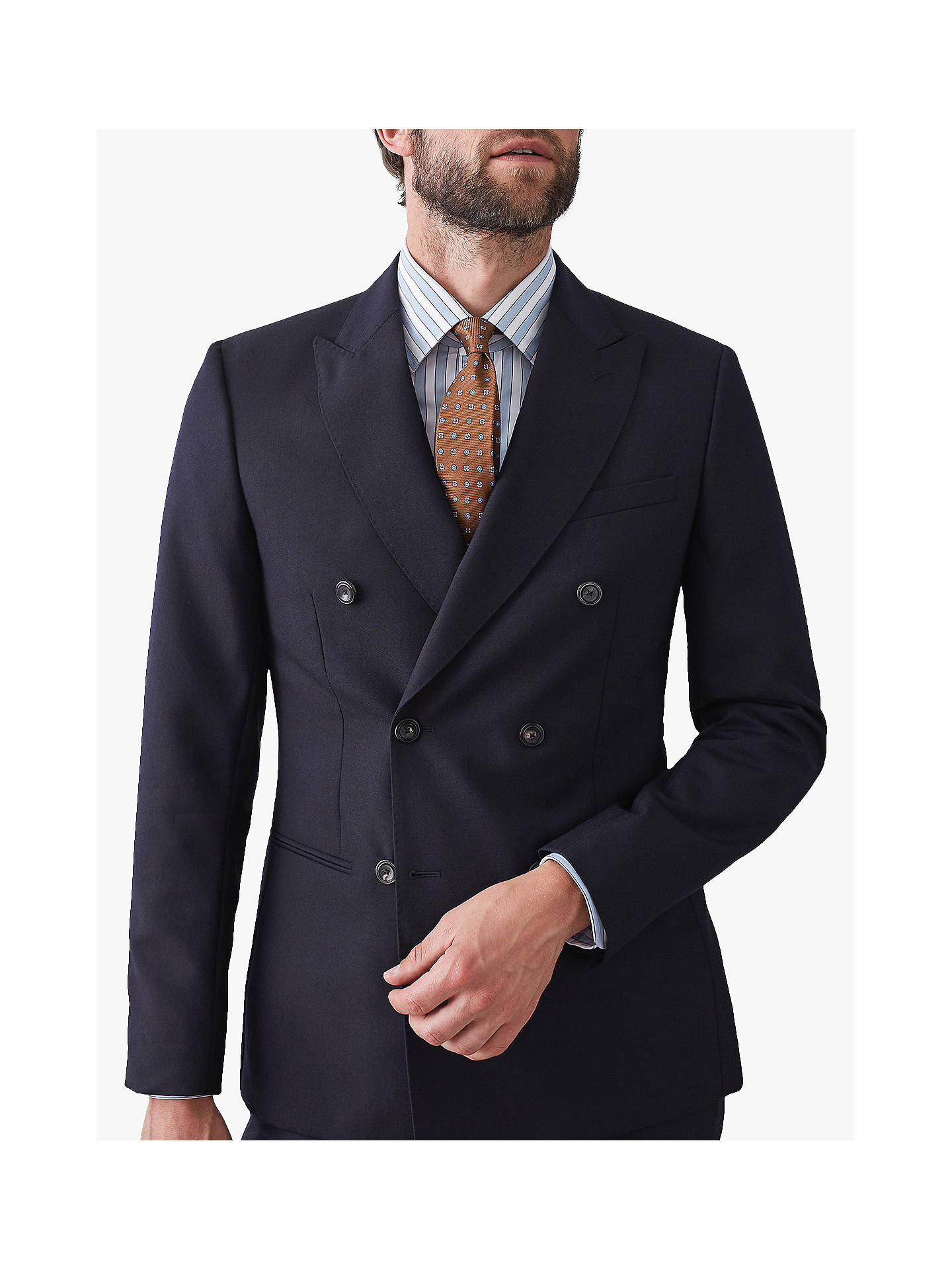 Buy Reiss Bamburgh Double Breasted Slim Fit Suit Jacket, Navy, 44R Online at johnlewis.com