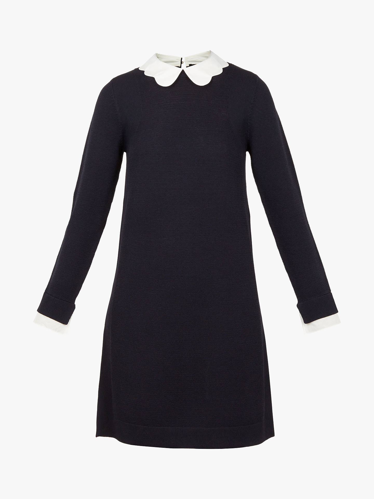 Buy Ted Baker Rosalo Scallop Collar Dress, Navy, XL Online at johnlewis.com
