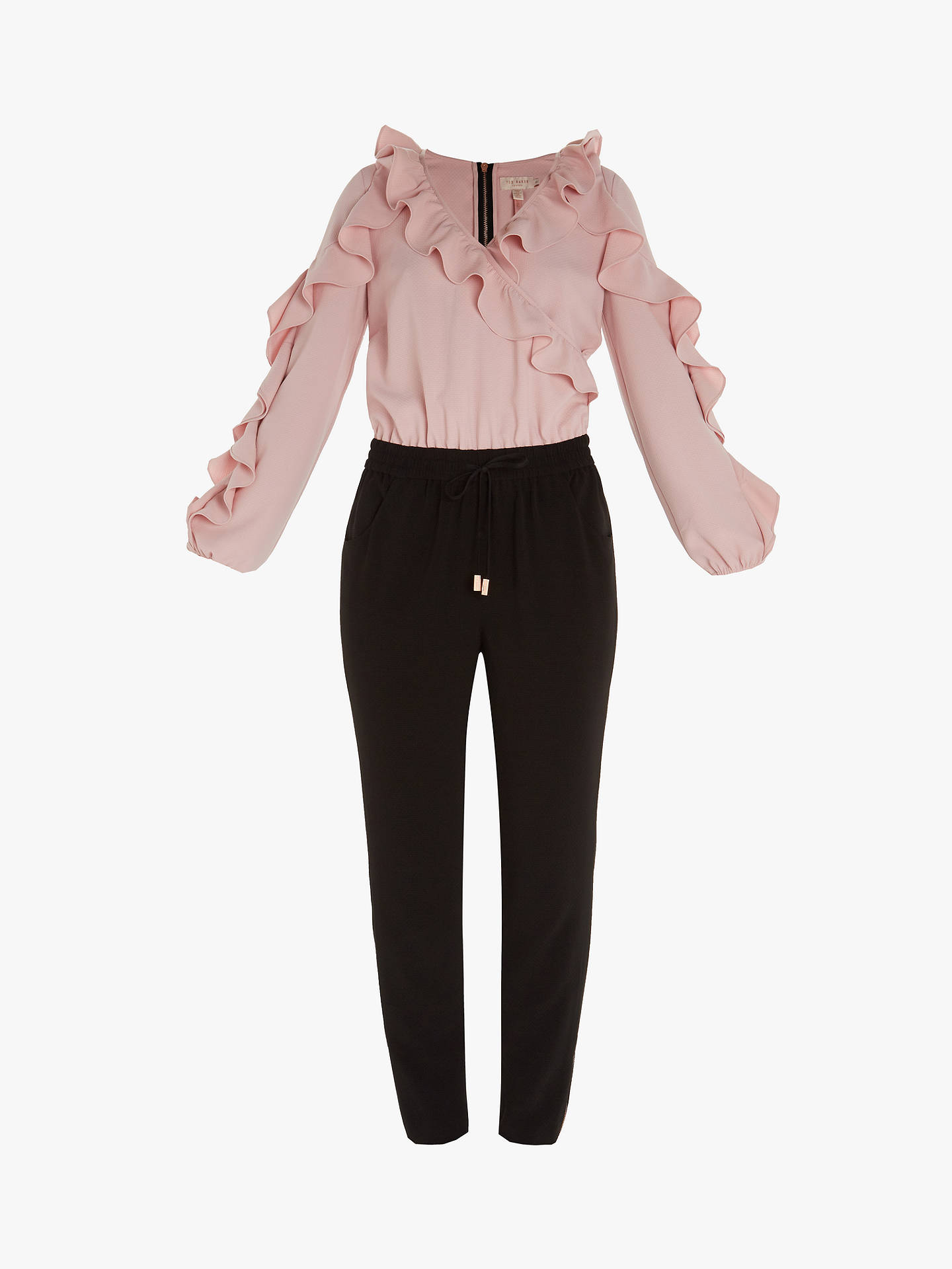 Buy Ted Baker Bethane Frill Jumpsuit, Black, 4 Online at johnlewis.com