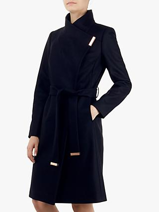Ted Baker Sandra Wrap Front Coat, Dark Blue