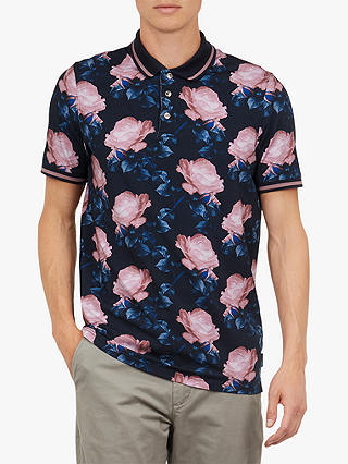 c9239b997d Ted Baker Lively Floral Print Cotton Polo Shirt, Blue Navy at John ...