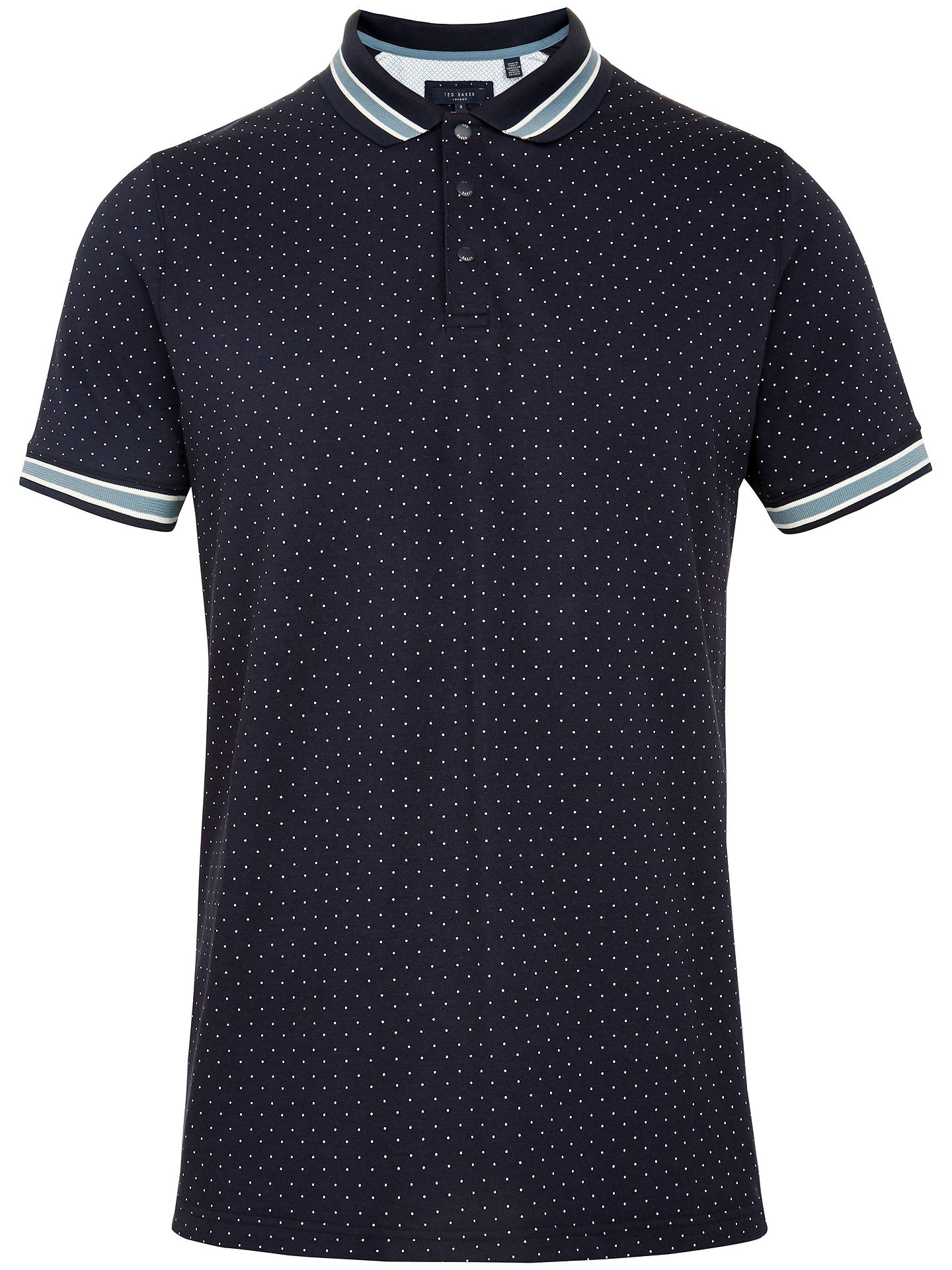 BuyTed Baker Museo Spot Print Polo Shirt, Blue Navy, 2 Online at johnlewis.com