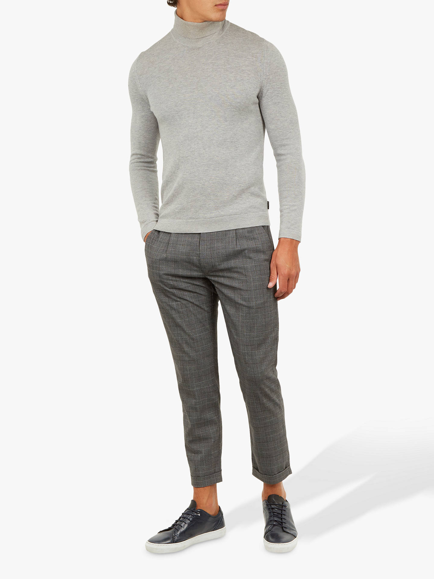 BuyTed Baker Squared Trousers, Grey Mid, 40R Online at johnlewis.com