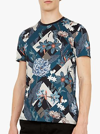 Ted Baker Jolly Abstract Floral Print Cotton T-Shirt, Blue Navy
