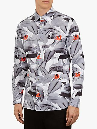 Ted Baker Hofarm Leaf Printed Shirt, White/Multi